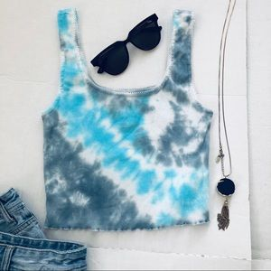 Tie Dye Blue Grey New Cropped Tank Size Small